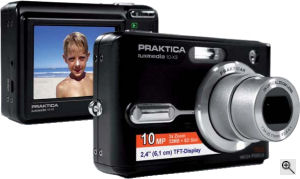 Praktica's Luxmedia 10-X3 digital camera. Courtesy of Praktica, with modifications by Michael R. Tomkins. Click for a bigger picture!