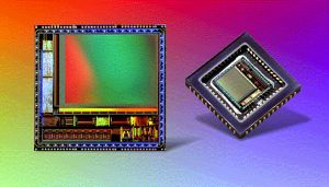 Motorola's MCM20027 CMOS image sensor, shown mounted and unmounted. Courtesy of Motorola.