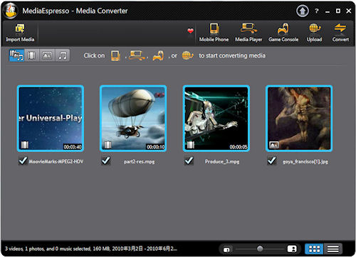 MediaEspresso 6's user interface. Screenshot provided by CyberLink Corp. Click for a bigger picture!