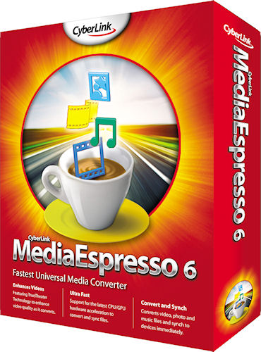 MediaEspresso 6's product packaging. Rendering provided by CyberLink Corp. Click for a bigger picture!