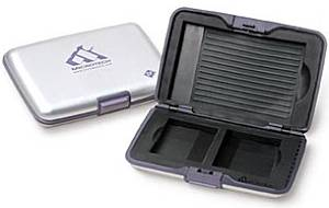 Microtech's MediaVault case, CompactFlash model shown (open and closed). Courtesy of Microtech Int'l Inc.
