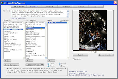 METAmachine's Keywords tab. Screenshot provided by HindSight Ltd. Click for a bigger picture!