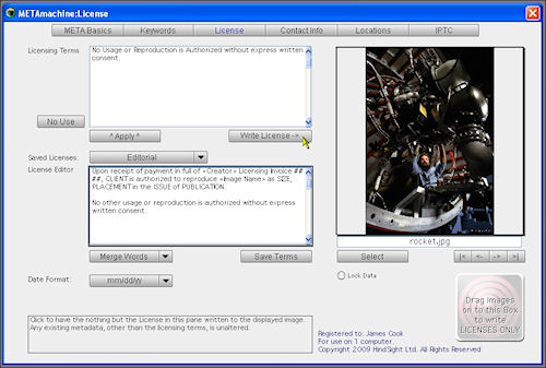 METAmachine's License tab. Screenshot provided by HindSight Ltd. Click for a bigger picture!