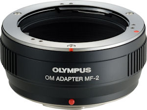 Olympus' MF-2 OM adapter. Photo provided by Olympus Imaging America Inc. Click for a bigger picture!