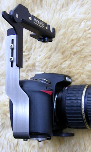 The MicroFlip Flash Bracket mounted on a Nikon digital SLR. Photo provided by Hullett Practical Marketing Group. Click for a bigger picture!