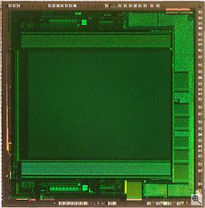 Micron's MT9T012 image sensor die. Courtesy of Micron, with modifications by Michael R. Tomkins. Click for a bigger picture!