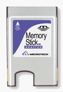 Microtech's Memory Stick - PC Card adapter. Courtesy of SCM Microsystems Inc.