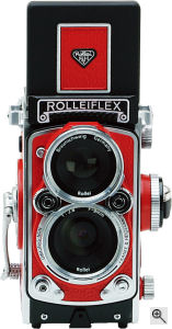 Komamura's RolleiFlex MiniDigi digital camera. Courtesy of Komamura, with modifications by Michael R. Tomkins. Click for a bigger picture!