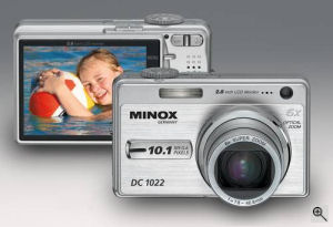 Minox's DC 1022 digital camera. Courtesy of Minox, with modifications by Michael R. Tomkins. Click for a bigger picture!