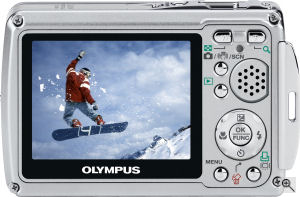 Olympus' Mju 725 SW digital camera. Courtesy of Olympus, with modifications by Michael R. Tomkins. Click for a bigger picture!