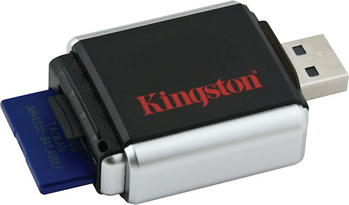 The MobileLite G2 with USB connector extended, and SD / MicroSD cards inserted. Photo provided by Kingston Digital Inc. Click for a bigger picture!