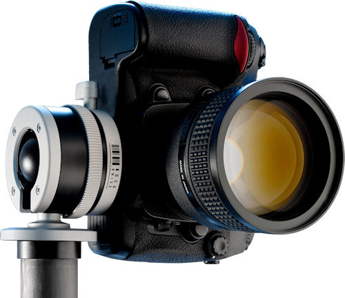 Arca Swiss' Monoball p0 tripod head with Nikon DSLR attached. Photo provided by ARCA-SWISS. Click for a bigger picture!