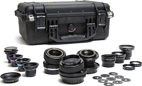 The Lensbaby Movie Maker's Kit contains the Composer Pro, Composer Pro PL, Muse PL, plus a wide selection of optics and aperture kits. Photo provided by Lensbaby Inc. Click for a bigger picture!