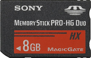 Sony's 8GB Memory Stick PRO-HG Duo HX flash card. Courtesy of Sony, with modifications by Michael R. Tomkins. Click for a bigger picture!