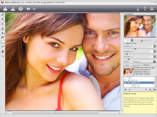 AKVIS MultiBrush v4.0, showing the lighten tool in use. Photo provided by AKVIS Software Inc. Click for a bigger picture!