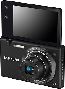Samsung's MultiView MV800 digital camera. Image provided by Samsung Electronics Co. Ltd. Click for a bigger picture!