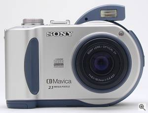 Sony's MVC-CD200 digital camera, front view.  Copyright (c) 2001, The Imaging Resource. All rights reserved. Click for a bigger picture!