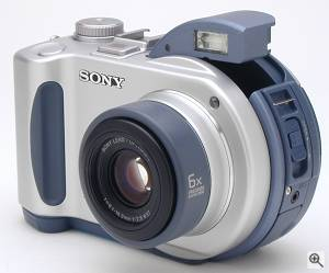 Sony's MVC-CD200 digital camera, front left quarter  view. Copyright (c) 2001, The Imaging Resource. All rights reserved. Click for a bigger picture!