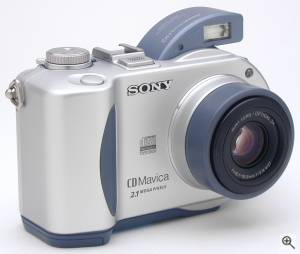 Sony's MVC-CD200 digital camera, front right quarter  view. Copyright (c) 2001, The Imaging Resource. All rights reserved. Click for a bigger picture!