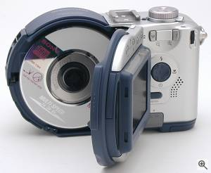 Sony's MVC-CD200 digital camera, rear view with CD-RW  drive door open. Copyright (c) 2001, The Imaging Resource. All rights reserved. Click for a bigger picture!