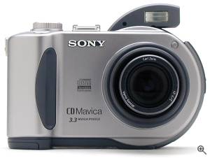 Sony's MVC-CD300 digital camera, front view.  Copyright (c) 2001, The Imaging Resource. All rights reserved. Click for a bigger picture!