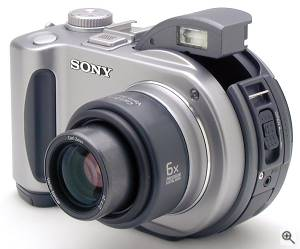 Sony's MVC-CD300 digital camera, front left quarter  view. Copyright (c) 2001, The Imaging Resource. All rights reserved. Click for a bigger picture!