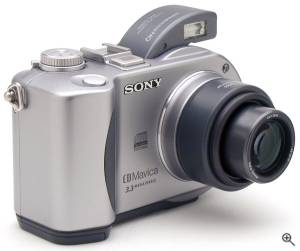 Sony's MVC-CD300 digital camera, front right quarter  view. Copyright (c) 2001, The Imaging Resource. All rights reserved. Click for a bigger picture!