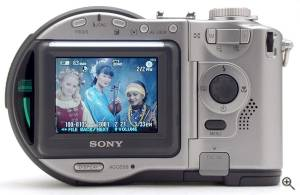 Sony's MVC-CD300 digital camera, rear view. Copyright  (c) 2001, The Imaging Resource. All rights reserved. Click for a bigger picture!