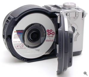 Sony's MVC-CD300 digital camera, rear view with CD-RW  drive door open. Copyright (c) 2001, The Imaging Resource. All rights reserved. Click for a bigger picture!