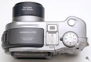 Sony's MVC-CD300 digital camera, top view. Copyright  (c) 2001, The Imaging Resource. All rights reserved. Click for a bigger picture!