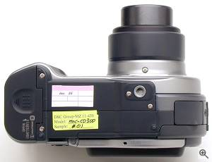 Sony's MVC-CD300 digital camera, bottom view.  Copyright (c) 2001, The Imaging Resource. All rights reserved. Click for a bigger picture!