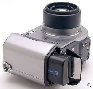 Sony's MVC-CD300 digital camera, bottom view showing  battery compartment. Copyright (c) 2001, The Imaging Resource. All rights reserved. Click for a bigger picture!