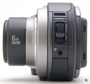 Sony's MVC-CD300 digital camera, left view. Copyright  (c) 2001, The Imaging Resource. All rights reserved. Click for a bigger picture!
