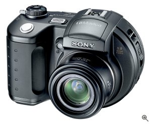 Sony's Mavica MVC-CD500 digital camera. Courtesy of Sony, with modifications by Michael R. Tomkins. Click for a bigger picture!