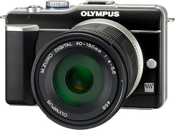 Olympus' M.ZUIKO DIGITAL ED 40-150mm f4.0-5.6 lens mounted on an E-PL1 camera body. Photo provided by Olympus Imaging America Inc. Click for a bigger picture!