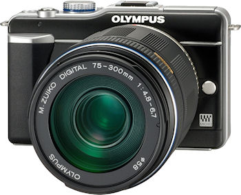 Olympus' M.ZUIKO DIGITAL ED 75-300mm f4.8-6.7 lens mounted on an E-PL1 camera body. Photo provided by Olympus Imaging America Inc. Click for a bigger picture!