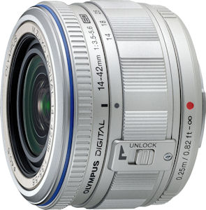 Olympus' M. ZUIKO Digital 14-42mm f3.5-5.6 lens. Photo provided by Olympus Imaging America Inc. Click for a bigger picture!