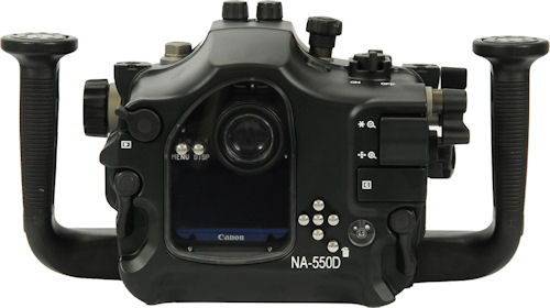 Rear view of the Nauticam NA-550D underwater housing. Photo provided by Nauticam International Ltd. Click for a bigger picture!