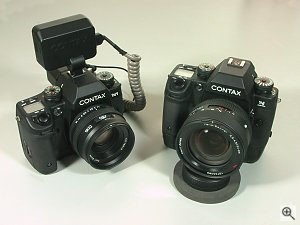 Contax's N Digital SLR digital camera and N1 SLR film camera side by side. Copyright (c) 2001, Michael R. Tomkins, all rights reserved. Click for a bigger picture!