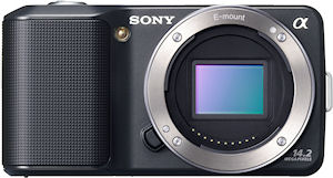 Sony's NEX-3 single-lens direct view camera. Photo provided by Sony Electronics Inc. Click for a bigger picture!