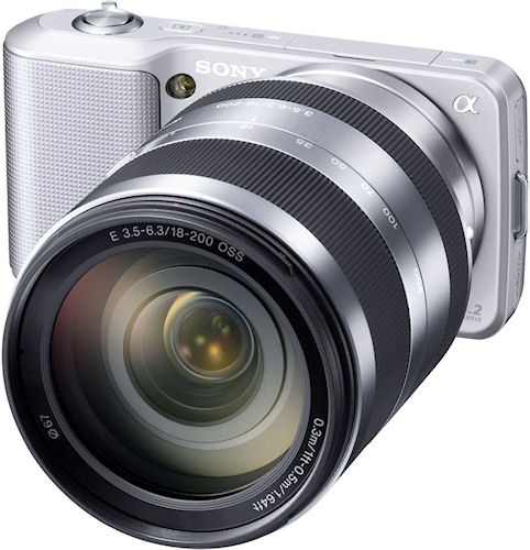 Sony's NEX-3 camera with E 18-200mm F3.5-6.3 OSS lens attached. Photo provided by Sony Electronics Inc. Click for a bigger picture!
