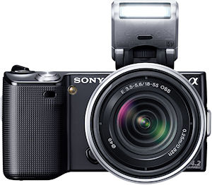 Sony's NEX-5 single-lens direct view camera. Photo provided by Sony Electronics Inc. Click for a bigger picture!