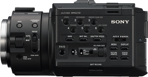 Sony's NEX-FS100U E-mount camcorder. Photo provided by Sony Europe (Belgium) N.V. Click for a bigger picture!