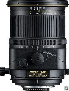 PC-E NIKKOR 24mm f/3.5D ED lens. Courtesy of Nikon, with modifications by Zig Weidelich. Click for a bigger picture!
