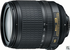Nikon AF-S DX NIKKOR 18-105mm f/3.5-5.6G ED VR lens. Courtesy of Nikon, with modifications by Zig Weidelich. Click for a bigger picture!