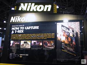 A description and photo of Nikon's T-Rex image, from Nikon's booth at PhotoPlus Expo East in New York. Copyright (c) 2000, Michael R. Tomkins, all rights reserved. Click for a bigger picture!
