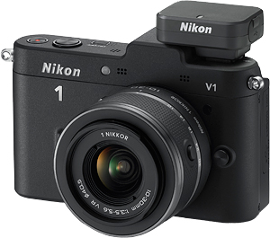 The Nikon V1 compact system camera with 10-30mm f/3.5-5.6 VR lens and GP-N100 GPS accessory. Photo provided by Nikon Inc. Click for a bigger picture!
