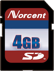 Norcent's 4GB SD card. Courtesy of Norcent, with modifications by Michael R. Tomkins.
