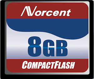 Norcent's 8GB CF card. Courtesy of Norcent, with modifications by Michael R. Tomkins.