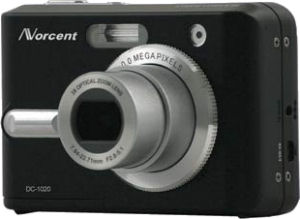 Norcent's DC-1020 digital camera. Courtesy of Norcent, with modifications by Michael R. Tomkins.